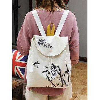 Chinese Bamboo Handle School Backpack - WHITE