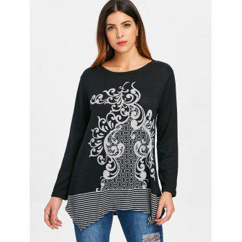 Round Neck Printed Sweater - BLACK ONE SIZE