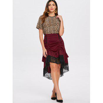 Ruched Midi Skirt with Lace Hem - RED WINE M