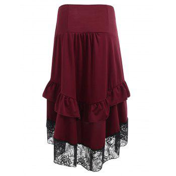 Ruched Midi Skirt with Lace Hem - RED WINE L