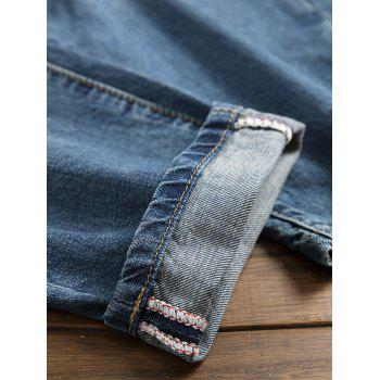 Broken Holes Tapered Fit Jeans - DENIM DARK BLUE 36