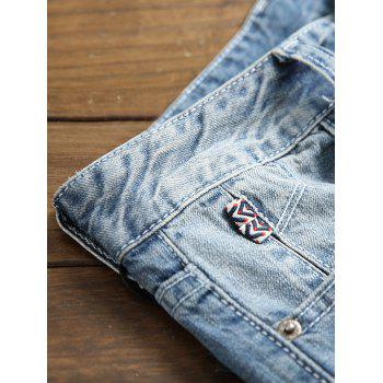 Destroyed Holes Zipper Fly Jeans - DENIM DARK BLUE 32