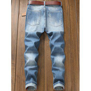 Destroyed Holes Zipper Fly Jeans - DENIM DARK BLUE 34
