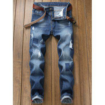 Faded Destroyed Geometric Print Jeans - DENIM DARK BLUE 34