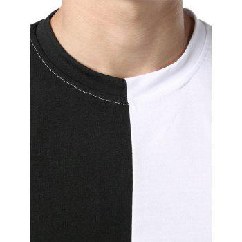 Contrast Color Patchwork Casual T-shirt - BLACK XL
