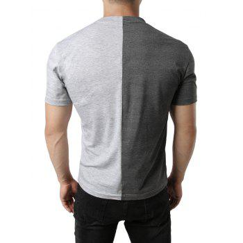 Contrast Color Patchwork Casual T-shirt - DARK GRAY XL