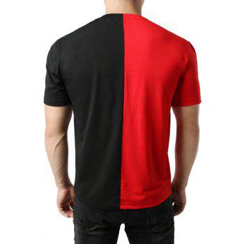Contrast Color Patchwork Casual T-shirt - RED 2XL