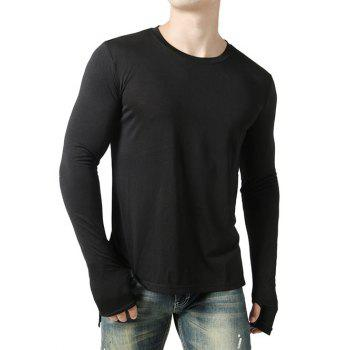 Glove Design Front Short Back Long Tee - BLACK S
