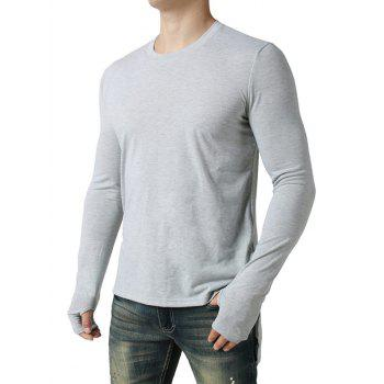 Glove Design Front Short Back Long Tee - LIGHT GRAY S