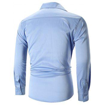 Embroidery Pocket Slank Placket Shirt - SKY BLUE 2XL