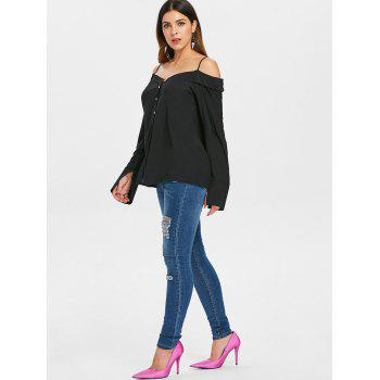 Open Shoulder Button Up Blouse - BLACK L