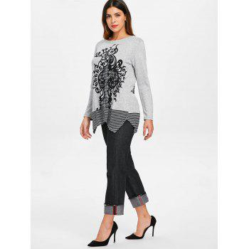 Round Neck Printed Sweater - GRAY ONE SIZE