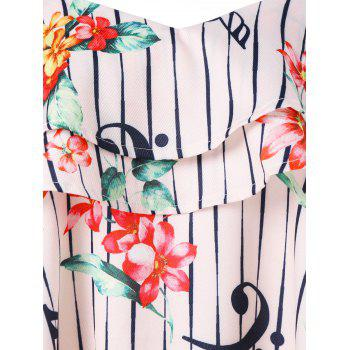 Flower and Stripe Printed Flounce Blouse - multicolor M