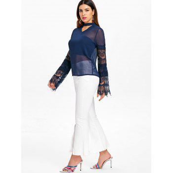 Lace Sleeve Cut Out Blouse - BLUE S