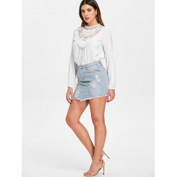 Floral Lace Crochet Blouse - MILK WHITE L