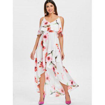 Floral Printed Long Flounce High Low Dress - WHITE L
