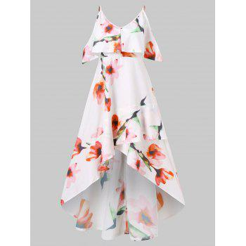 Floral Printed Long Flounce High Low Dress - WHITE M