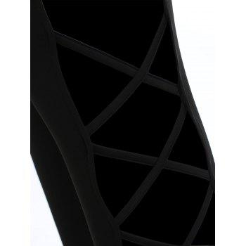 Lattice Open Sides Leggings - BLACK M