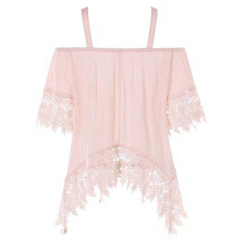 Asymmetrical Open Shoulder Lace Applique Top - LIGHT PINK XL