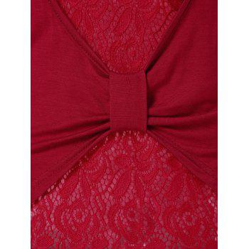Cut Out Back Overlap Lace Panel T-shirt - RED WINE L