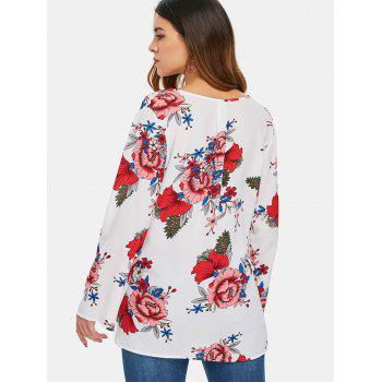 Plunging Neck Print Blouse - WHITE S