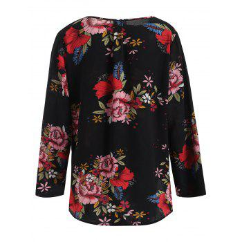 Plunging Neck Print Blouse - BLACK L