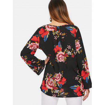 Plunging Neck Print Blouse - BLACK XL