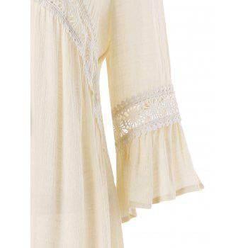 Crocheted Panel Tassel Lacing Beach Dress - WARM WHITE L