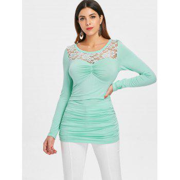 Lace Panel Long Sleeve Ruched T-shirt - BLUE GREEN L