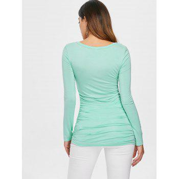 Lace Panel Long Sleeve Ruched T-shirt - BLUE GREEN XL