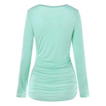 Lace Panel Long Sleeve Ruched T-shirt - BLUE GREEN M