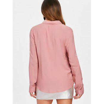 Chemise Poches En Strass Manches Longues - Chewing Gum Rose L