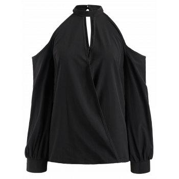 Mock Neck Cut Out Blouse - BLACK M
