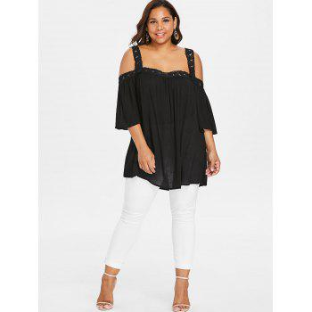 Plus Size Open Shoulder Blouse - BLACK XL