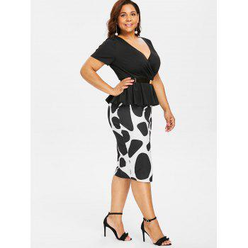 Plus Size Surplice Pencil Dress with Belt - BLACK 4X