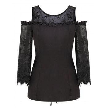 Open Shoulder Mesh Insert Lace Up Top - BLACK L