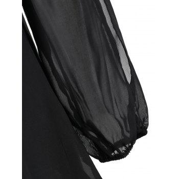 Slit Sleeve Open Back Chiffon Blouse - BLACK 2XL