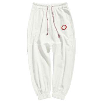 Graphic Embroidery Detail Applique Flatlock Seams Jogger Pants - WHITE 2XL