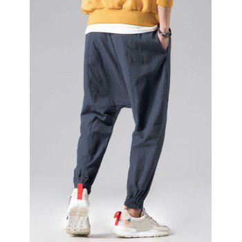 Graphic Embroidery Detail Applique Flatlock Seams Jogger Pants - BLUE GRAY M