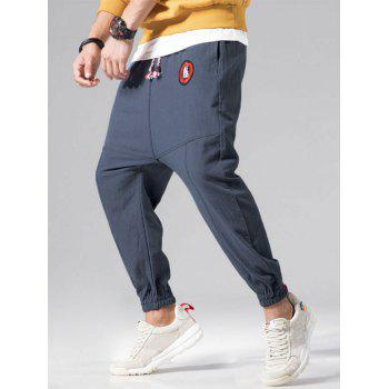 Graphic Embroidery Detail Applique Flatlock Seams Jogger Pants - BLUE GRAY L