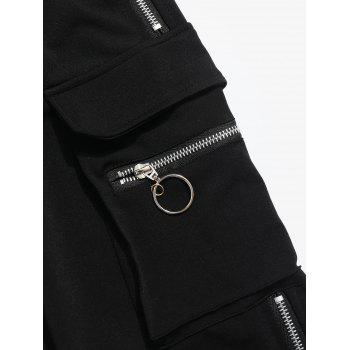Zipper Grommet Jogger Pants - BLACK S