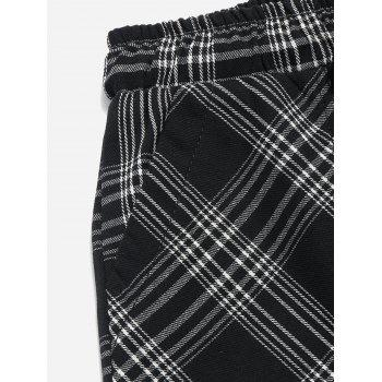 Drawstring Plaid Casual Nine Minutes of Pants - BLACK S