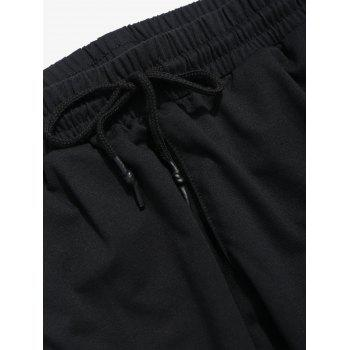Splice Stripe Side Pocket Letter Jogger Pants - YELLOW M