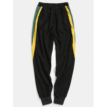 Side Contrast Patch Pocketed Jogger Pants - BLACK L