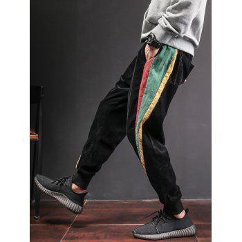 Side Contrast Patch Pocketed Jogger Pants - BLACK 2XL