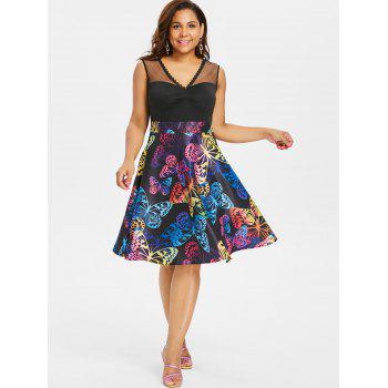 Plus Size High Waist Sleeveless Butterflies Dress - BLACK 2X
