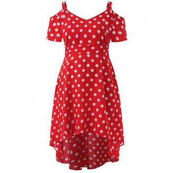 Polka Dot Cold Shoulder Plus Size Dress - RED 3X