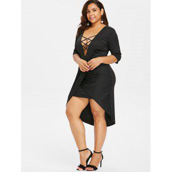 Plus Size Three Quarter Sleeve Sheath Dress - BLACK 3X