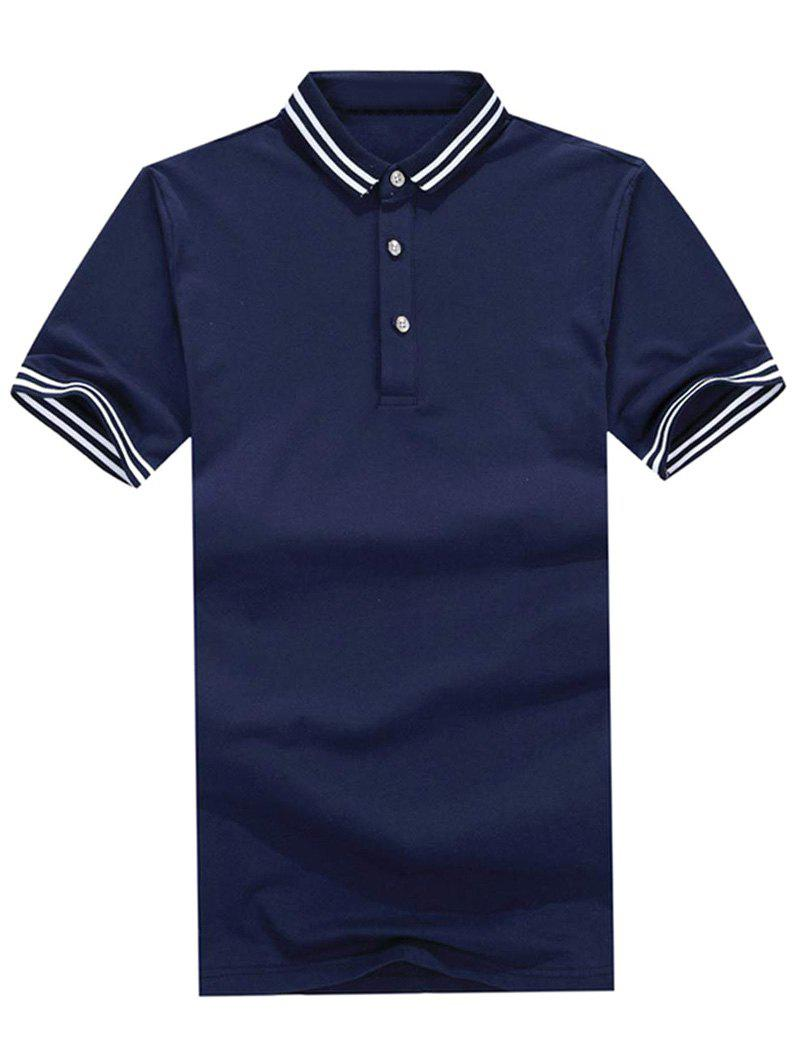 Stripe Trim Polo Collar Casual T-shirt - CADETBLUE XL