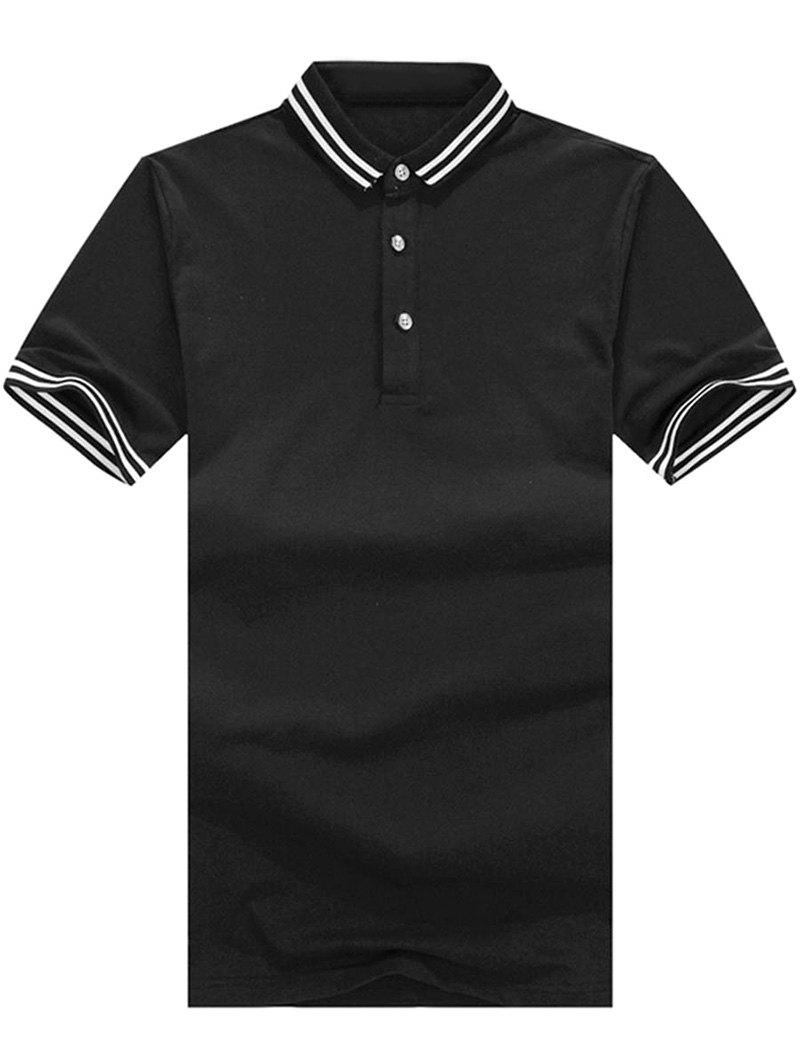 Stripe Trim Polo Collar Casual T-shirt - BLACK XL